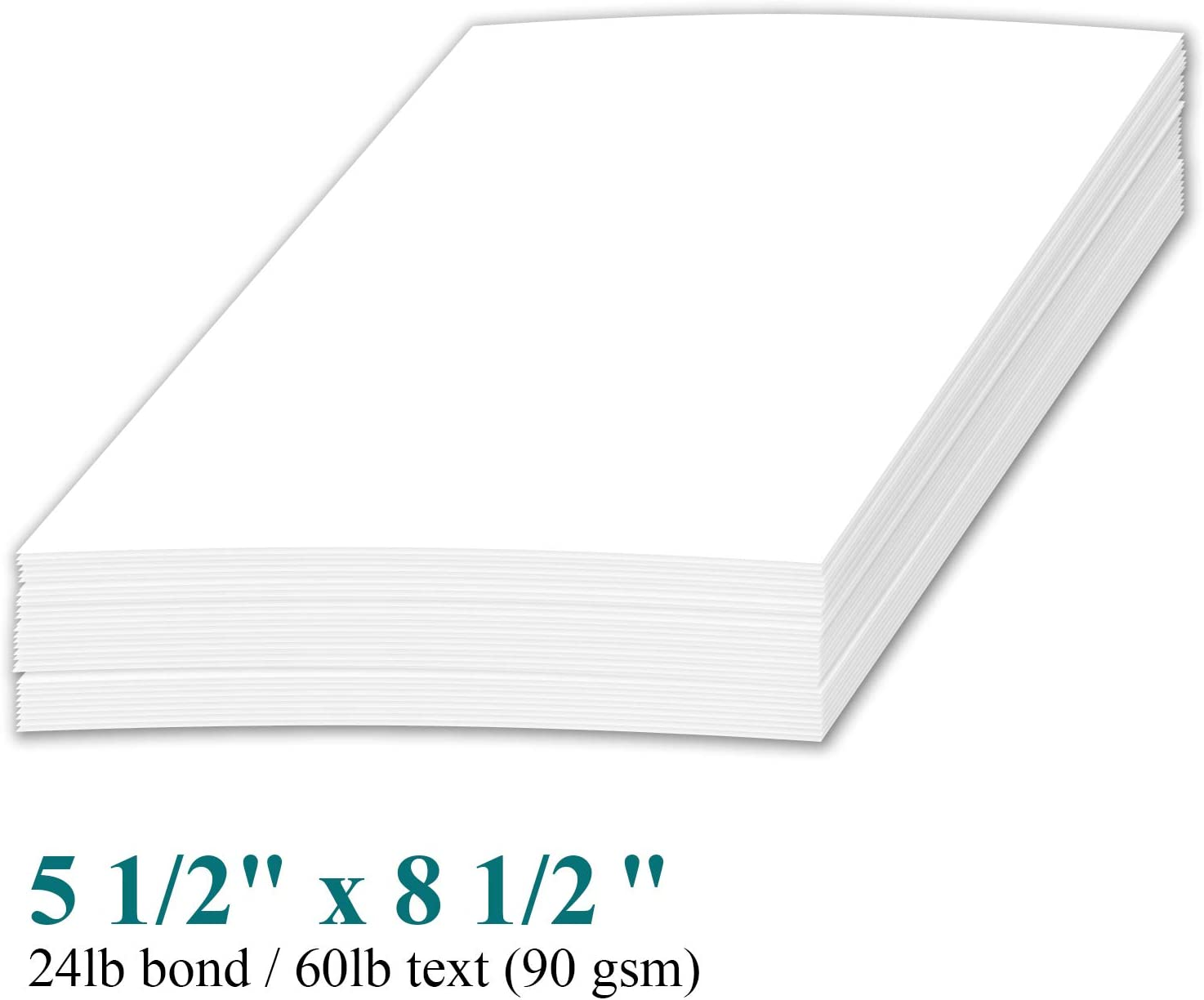 Half Letter Size White Paper 20lb 500 Sheets 8.5 x 5.5 Inches