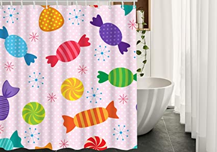 Migant Candy Shower Curtains Decor Colorful Sweet Candies Waterproof Polyester Fabric Bathroom Curtain Set With
