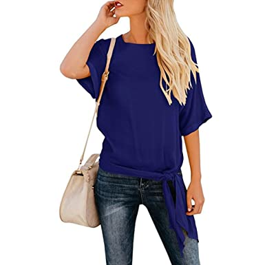 dd947d750be8b Beautyjourney Chemisier Lin Femme❤️Tunique Manche Longue Manche Longue Top  en Soie Femme Sport Casual Base Noeud Cravate Front Loose Fit Demi-Manches  Tee ...