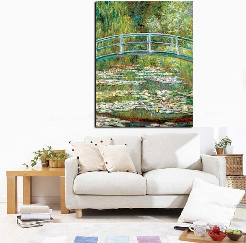 SQWPATS N/énuphars et Japonais mari/ée Peinture /à lhuile Toile Affiche Imprime Cuadros Mur Art Photo pour Salon 50x70 cm x 1 PCS sans Cadre