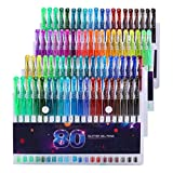 Glitter Gel Pens Set, 80 Unique Colors Gel Markers Pen for Adult Coloring Book, Doodling, Crafting, Scrapbooking, DIY Greeting Cards, Drawing Painting Art Project