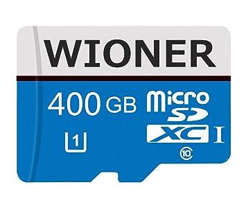 wioner Tarjeta de Memoria Micro SD SDXC 128 GB/256 GB/400 GB de Alta Velocidad Clase 10 con Adaptador SD