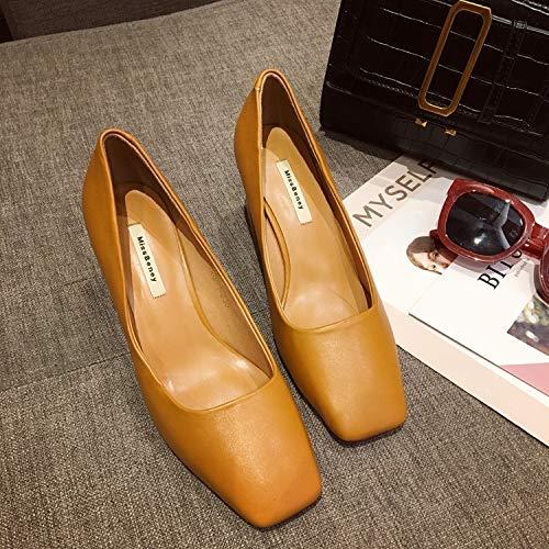 Yukun zapatos de tacón alto Slim and Elegant Square Head High Heels Zapatos De Trabajo Mujer Autumn Shallow Boca Set Foot Thick with Single Shoes Mujer Yellow