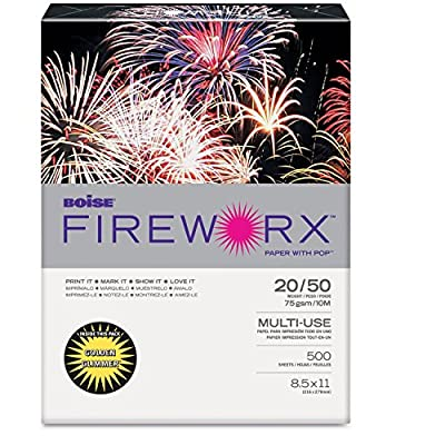 Boise Fireworx Colored Paper, 20 Pounds, 8-1/2 x 11, Golden Glimmer, 500 Sheets/Ream (MP2201-GRP)