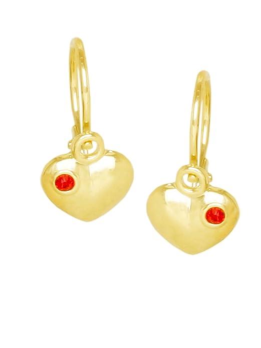 MyGold Herz-Ohrhänger Ohrringe Gelbgold 333/585 Gold 12mm x 6mm Herzchen Herzform mit Steinen 2 Zirkonia Taufe Taufgeschenk T