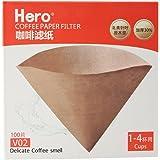 Hero 咖啡滤纸 滴漏式手冲咖啡过滤纸 美式机手冲壶v型过滤纸 (V02原色, 100片)