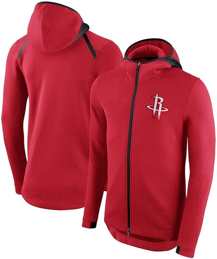 Felpa con Cappuccio da Uomo NBA Fans Jersey Houston Rockets Felpa Classica Classica con Coulisse Zip Maniche Lunghe Casual Comodo Pullover Caldo S-XXXL