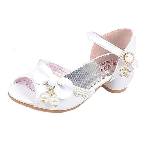 5f3b119ca8e72 YYF Petite Fille Belle Sandale Chaussure de Princesse A Talon AVCE Belle  Faux Perles