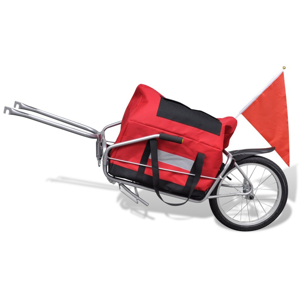 Daonanba Bicycle Cargo Trailer One-wheel with Storage Bag Useful Cargo Transport Carrier Red