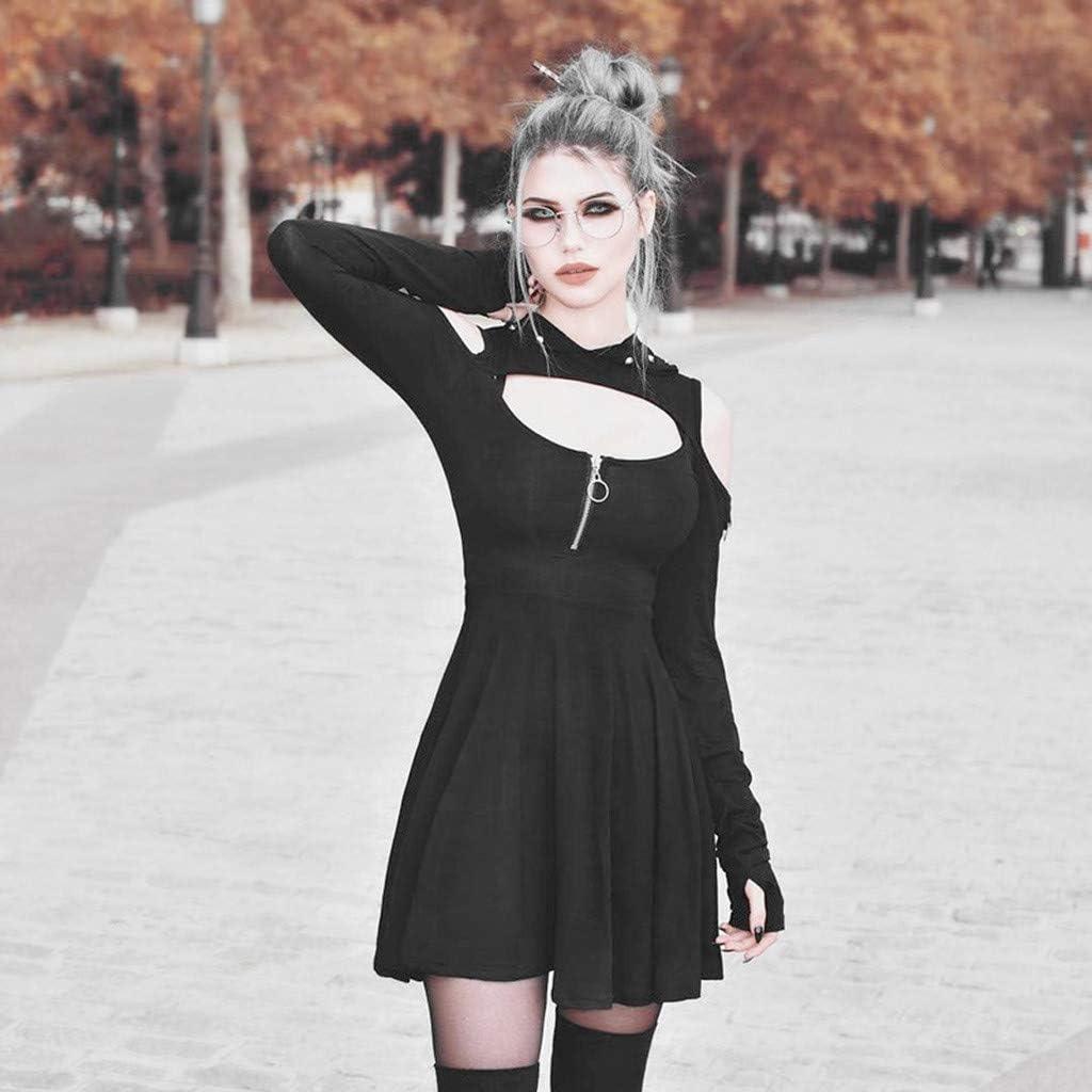 TWGONE Hoodie Dresses for Women Long Sleeve Cold Shoulder Gothic Pure Color Low Cut Mini Dress