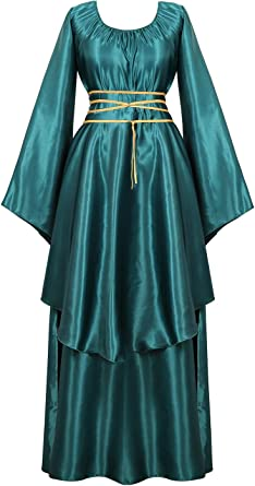 Black /& Blue Long Sleeve Velvet Satin Renaissance Medieval Gown Costume Cosplay