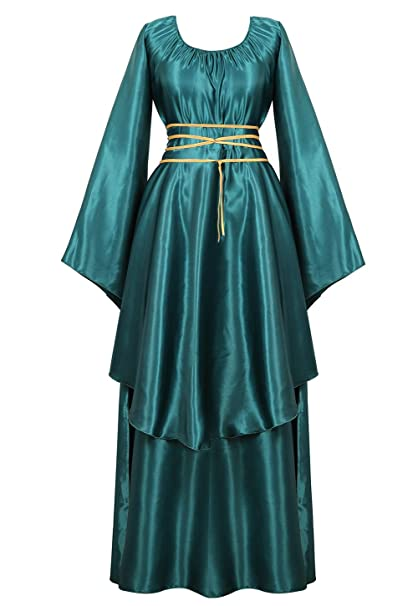 AOLAIYAOQU Renaissance Irish Medieval Dress for Women Plus Size Long Dresses Lace up Costumes Retro Gown
