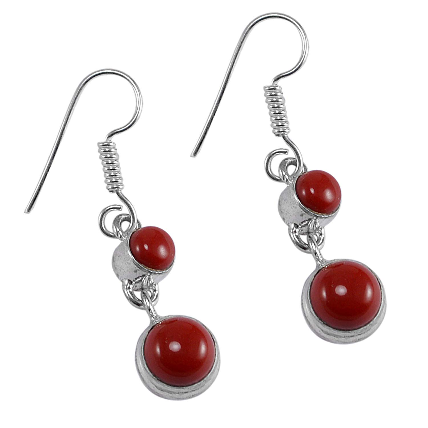 Silvestoo Jaipur Red Coral Gemstone 925 Silver Plated Earring Jewelry PG-127358