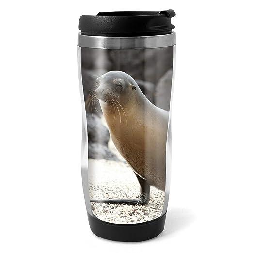 Taza de viaje con diseño de león de mar en la playa, 330 ml ...