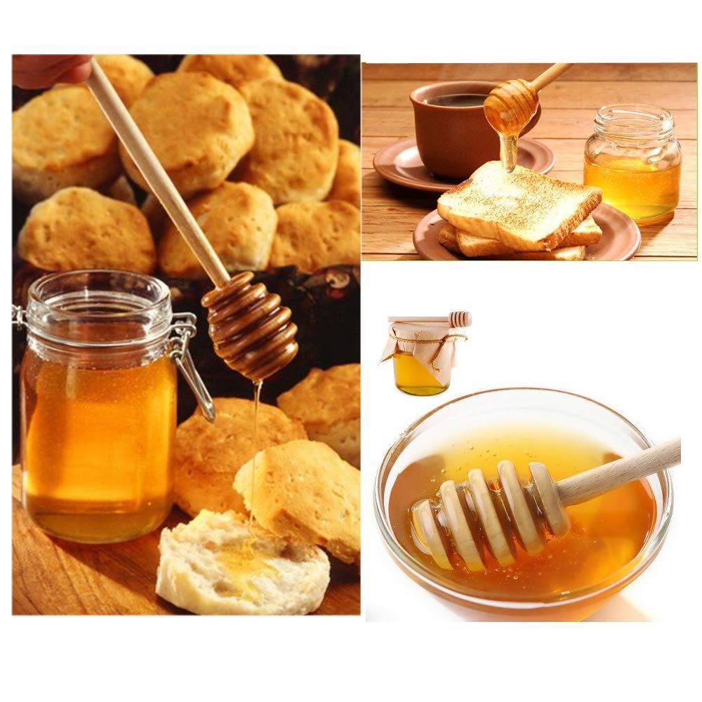 JZK 50 x Wood Honey Dipper drizzler Sticks Server Honey Spoon for Wedding Birthday Baby Shower Christmas Party Dessert Tool