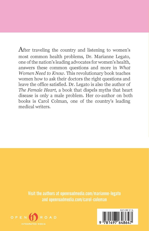 What Women Need to Know: Amazon.es: Marianne J. Legato, Carol Colman Gerber: Libros en idiomas extranjeros