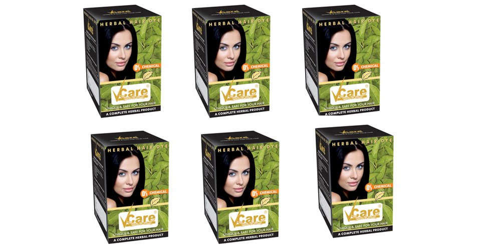 Pack of 6 - Vcare Herbal Hair Dye - Unique & Safe For Your Hair - 60g