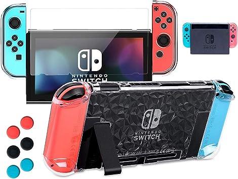 Carcasa transparente para Nintendo Switch con protector de ...