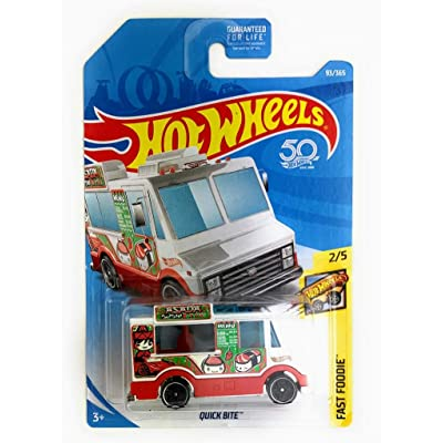 Hot Wheels 2020 50th Anniversary Fast Foodie Quick Bite (Food Truck) 93/365, White: Toys & Games