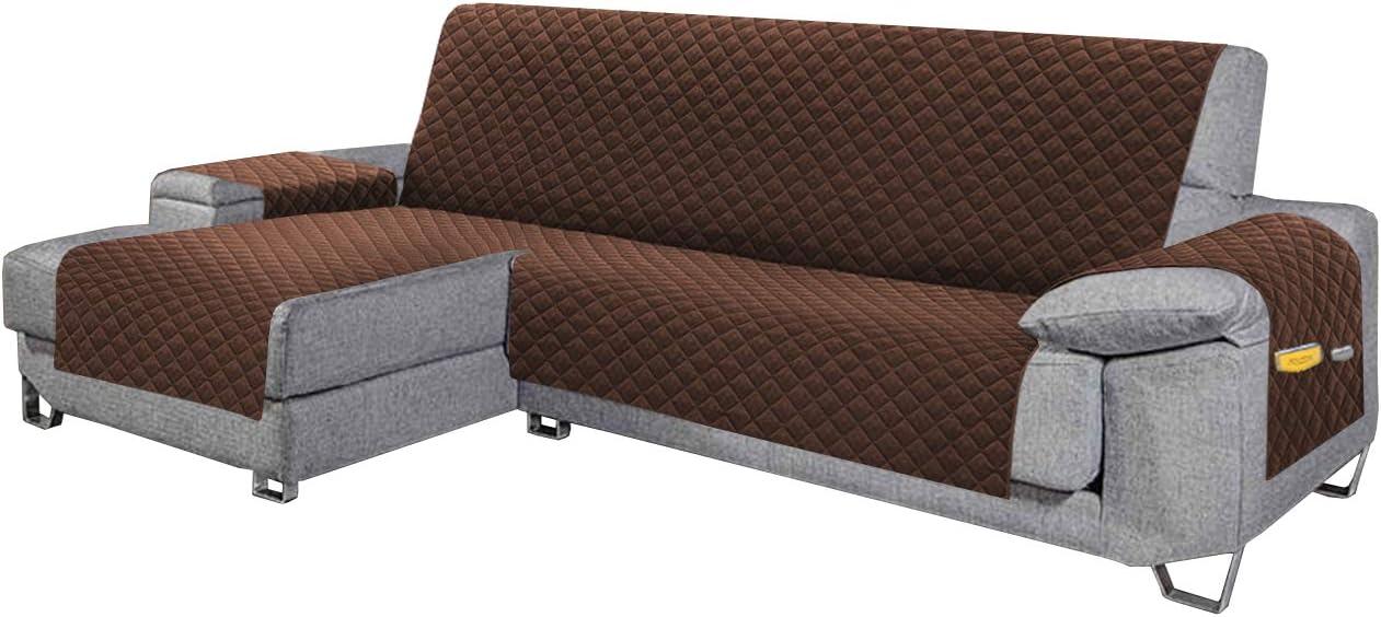 Cabetex Home - Cubre sofá - Chaise Longue - Reversible con ajustes y Bolsillos - Microfibra Acolchada Antimanchas (Chocolate)