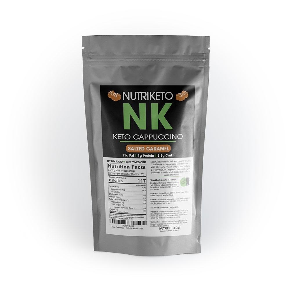 NutriKeto Keto Cappuccino - Salted Caramel - Low Carb/High Fat (LCHF) - Ketogenic Diet - 30 Servings by NutriKeto