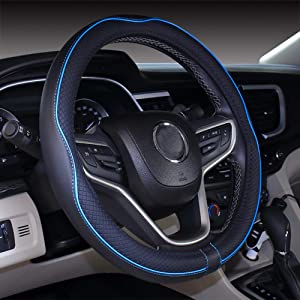 """Mayco Bell Microfiber Leather Large Steering Wheel Cover (15.5"""" - 16"""", Black Blue)"""