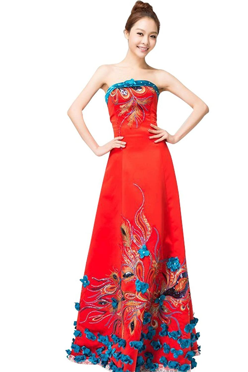 Beauty-Emily Women's Chinese Starpless Peacock Embroidered Evening Prom Dresses