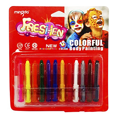 [Freshen Crayons | 12pcs Face Paint Sticks Non-toxic Material | Irritation Free Washable Paints for Face and Body | Delicate Water-Based Color with Portable Pen Shape Design | Various Colors |] (Face Painting For Lion Costume)
