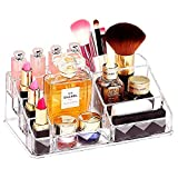 Lipstick Makeup Cosmetic Organizer Display with Multi Compartments Space-Saving Storage Box for Bottles, Brushes, Lipsticks, Jewelry and Perfume (Transparent)