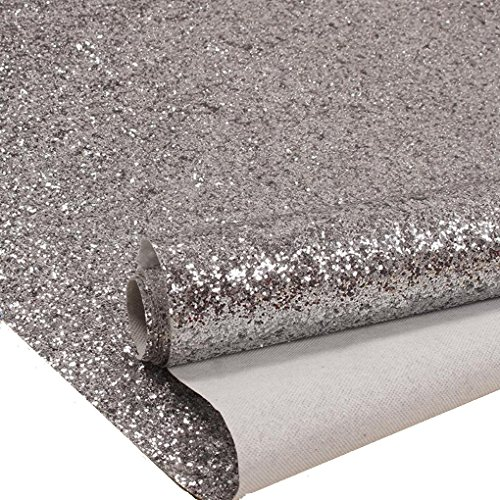 Silver Chunky Glitter Wallpaper Sample, Sparkly Glitter Fabric Wall Paper,Bling Wallcovering (6