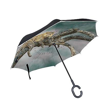 Mnsruu Paraguas invertido con patrón de Leopardo Doble Capa Plegable Resistente al Viento y a los Rayos