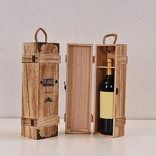 IPOTCH Bo/îte Caisse /à Vin en Bois Cadeau Coffret Rangement avec Corde 35x9,5x9cm