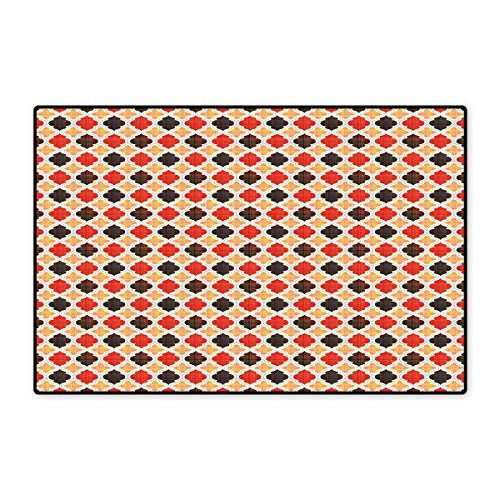 Geometric Floor Mat for Kids Antique Chevron with Victorian Old Fashion Trippy Mosaic Curves Floor Mat Pattern 32