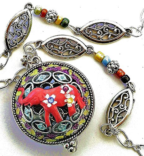 Long Elephant Pendant Essential Oil Aromatherapy Necklace Indian Bohemian Boho Jewelry for Women