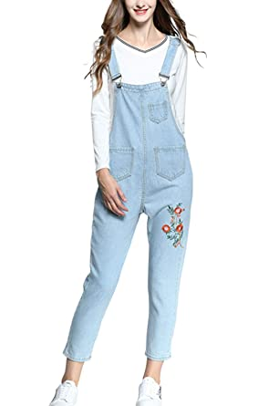dbbe86fc00c8 Flygo Women s Casual Vintage Embroidered Denim Bib Overalls Wide Leg  Cropped Harem Pants Jumpsuit (Small