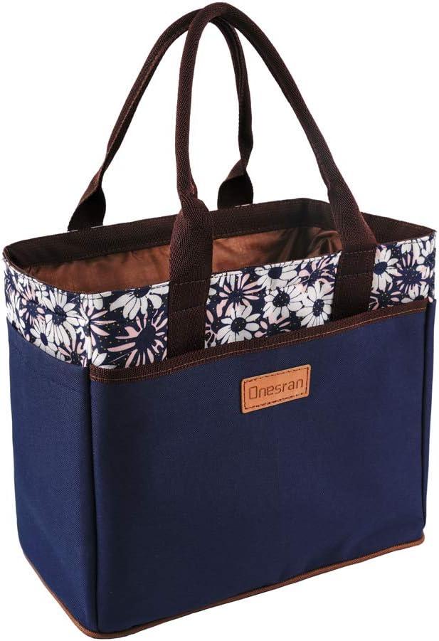 Bolsa de almuerzo grande para mujeres y niñas Bento Box bolsa térmica con cordón de 4 bolsillos laterales para picnic, viajes, oficina azul: Amazon.es: Hogar