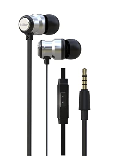 Review ZelHer MX-10 In-Ear Headphones with Mic - Top Rated Wired In-Ear Earbuds with Inline Control and 10mm Dual Chamber Drivers for Superior Sound Quality - Stylish, Tangle-Free Cables (Silver)