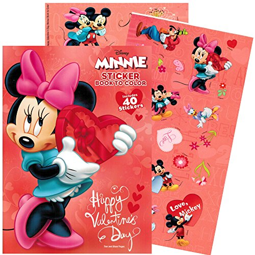 Disney Minnie Mouse Valentines Coloring Book with Stickers (Valentine's Day Gifts For Toddlers)