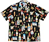 Chili Peppers Cook Off Men's Hawaiian Aloha Cotton Shirt in Black - XL
