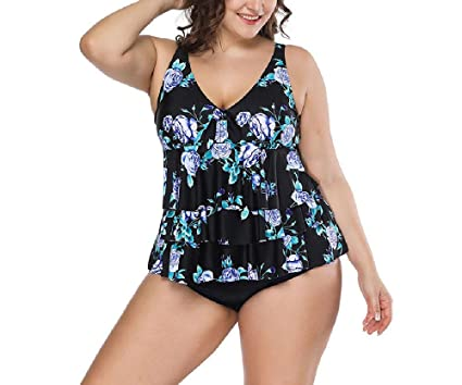 Two Piece Bikinis Plus Size Women Tankini Pad Swim Dress Bathing
