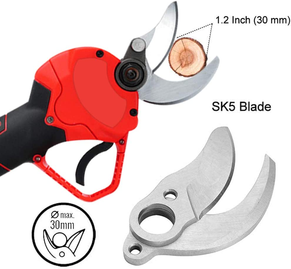 1.2 Inch CABINAHOME Professional Cordless Electric Pruning Shears Cutting Diameter 30mm 36V Professional Cordless Electric Pruning Shears with Non-slip Handle and 2 Pcs Backup Rechargeable Battery