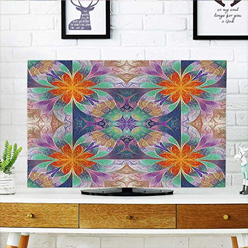 Auraisehome Cord Cover for Wall Mounted tv Decor Kaleidoscope Style Digital Print Mosaic Tile Art with 3D Effects with Free Cover Mounted tv W36 x H60 INCH/TV 65