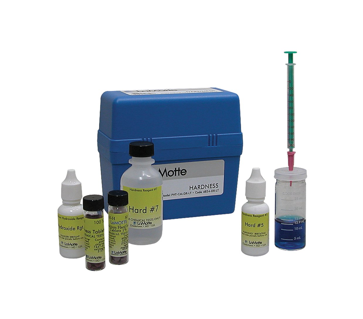 LaMotte 4824-DR-LT-01 Calcium Magnesium and Total Hardness Direct Reading Titrator Individual Test Kit, 0-200ppm CaCO3 Range, 4ppm CaCO3 Sensitivity: Lab ...