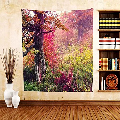 Gzhihine Custom tapestry Farm House Decor Tapestry Winter Landscape with Sunset and Frozen Trees Ice Weather Blizzard Cold Days Image Bedroom Living Room Dorm Decor Pink - Disney Blizzard Map Beach