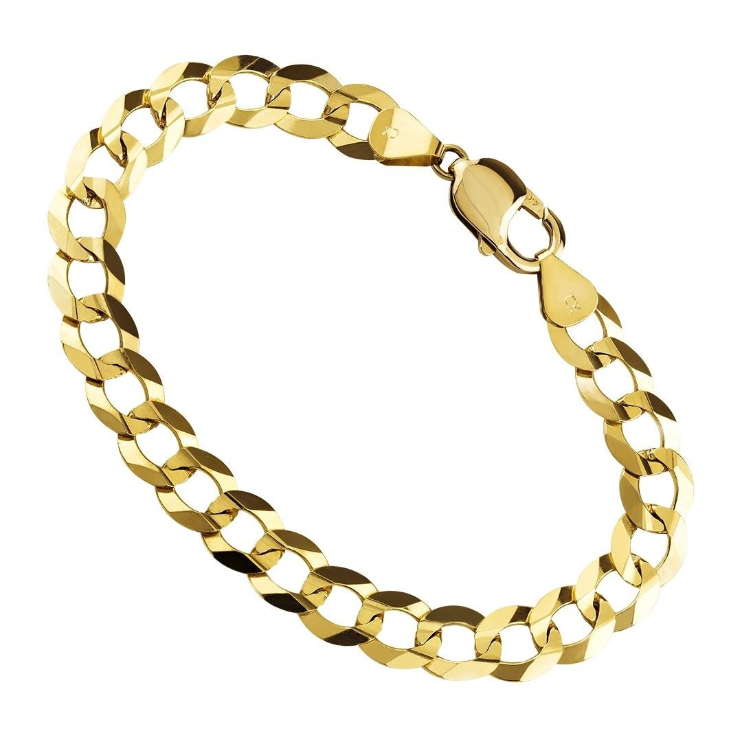 14K Yellow Gold Mens 9MM Thick Cuban/Curb Link Chain Bracelet- Made in Italy- 8.5''