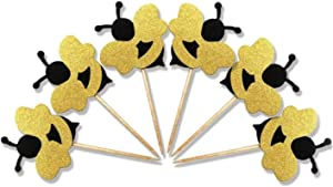 30-Pack Glitter Bumble Bee Cupcake Toppers, Baby Bee Gender Reveal Baby Shower Party Cupcake Cake Food Decoration Supplies