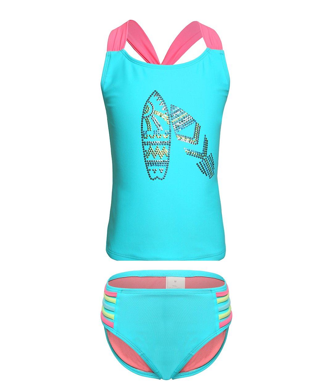 BELLOO Kids Girls Swimsuits, Two Pieces Tankini Swimsuit, Lightblue, Size 14-16
