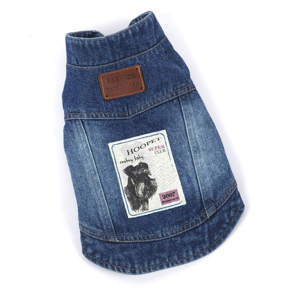 bluee M bluee M Pet Clothes Dog Clothes Retro Denim Small Vest Spring and Autumn Teddy Bear Clothes (color   bluee, Size   M)