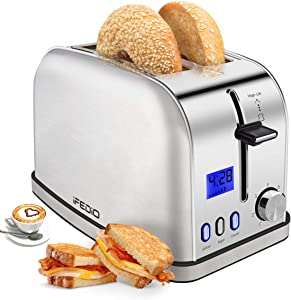 Toaster 2 Slice Best Rated Prime 2 Slice Toaster Stainless Steel with LED Timer Display Wide Slots Bagel Defrost Cancel Function for Breakfast Removable Crumb Tray 900W Toaster, Silver
