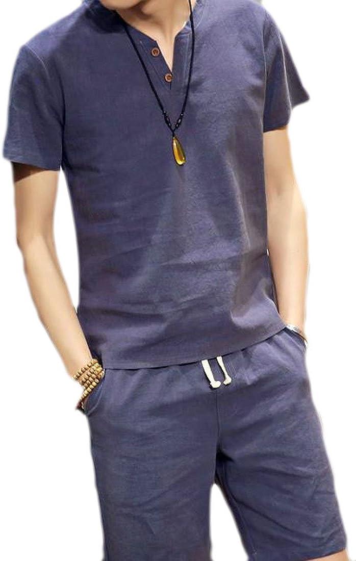 Big Tang Mens Linen Breathable Short Sleeve T-Shirt+Short Pants Sweatsuit Set